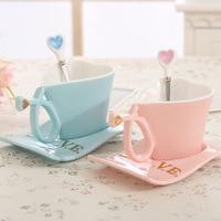 Creative Heart Lovers Pottery Ceramic Copa Individuality Mug Tea Coffee Milk Water Cup Handgrip Romantic Gift With Tray Spoon