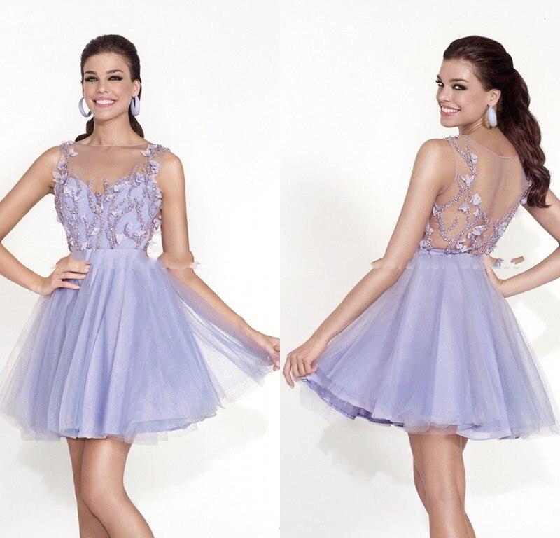 998bdfbc039 2015 precioso Puffy vestido corto de baile para adolescentes Light Purple  Tulle fiesta de graduación vestidos de encaje con aplicaciones Top en  Vestidos de ...