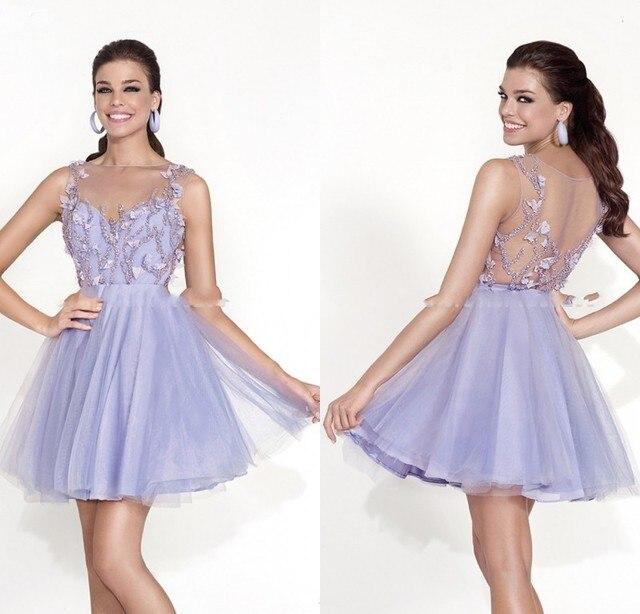 4a93fefa9 2015 precioso Puffy vestido corto de baile para adolescentes Light Purple  Tulle fiesta de graduación vestidos
