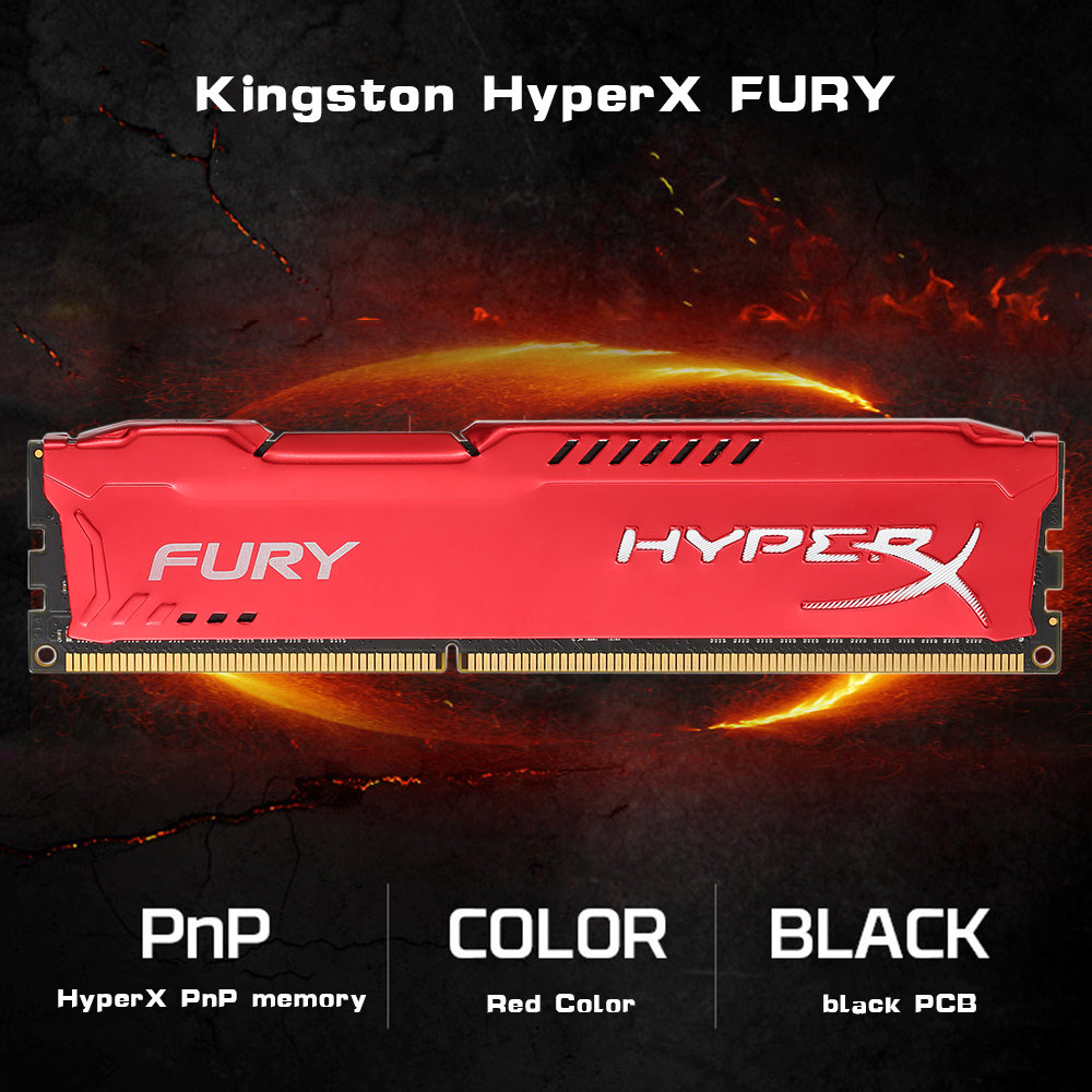 Original Kingston HyperX FURY 4GB 8GB 1866MHz DDR3 CL10 DIMM 1.5V Desktop Gamiing Memory RAM Red for PC Gamer DIV