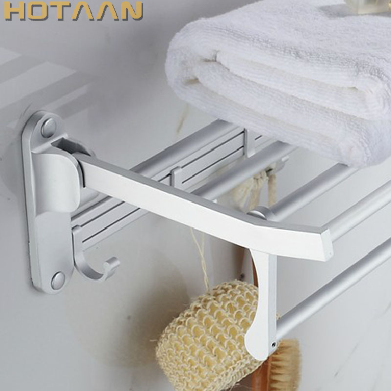 Bathroom towel holder Foldable towel rack 50cm and 40 cm size oxidation aluminium towel rack with