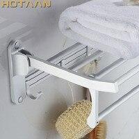 Bathroom towel holder, Foldable towel rack,50cm and 40 cm size oxidation aluminium towel rack with hooks YT 4018