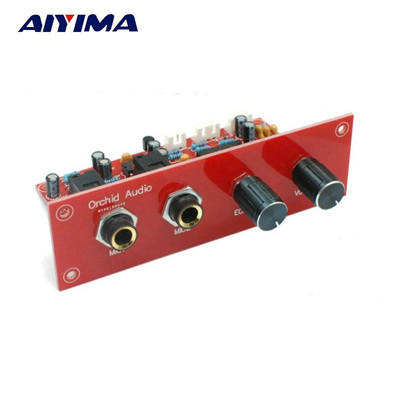 Aiyima PT2399+NE5532 Karaoke Microphone Sound Amplifier Board Preamplifier  Reverberation Plate + Front Panel