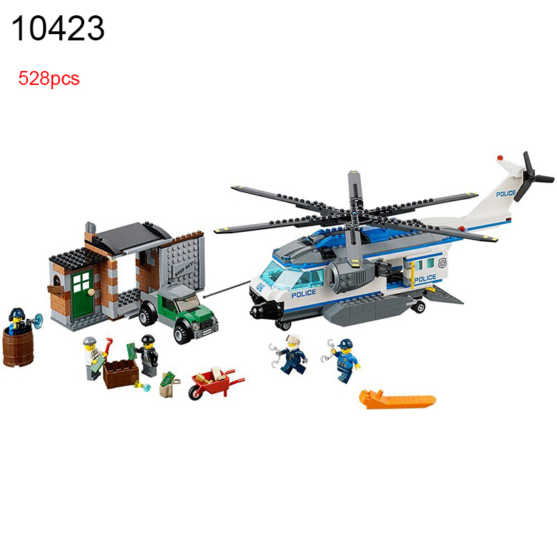 528pcs 10423 urban Police Helicopter Surveillance building blocks kids Educational Bricks gift Toys Compatible City 60046 police оправа медицинская police опр мед police 506 528