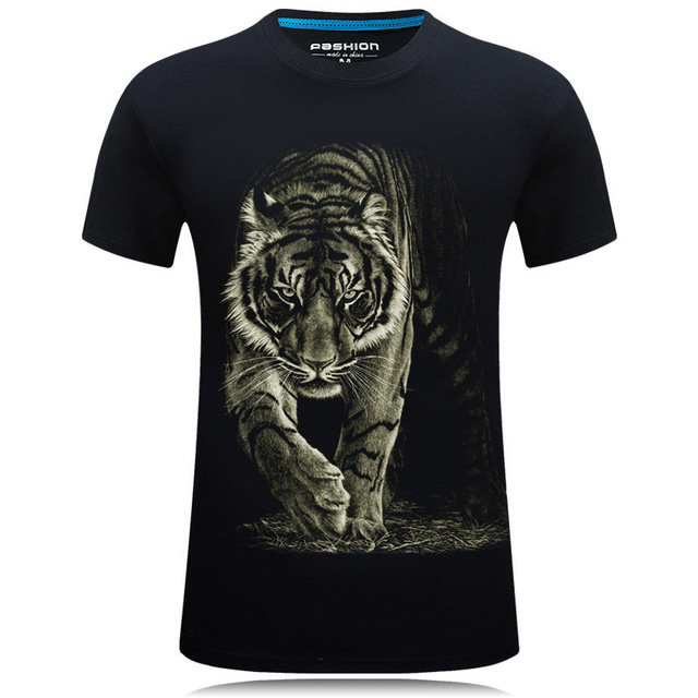 d3f54d6c Mens 3D printed t-shirts Print Tiger Short Sleeve Graphic Tee shirts Round  Tops Animals T-Shirt anime t male shirt homme