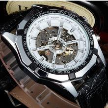 Luksusowa marka zwycięzca modny zegarek męski szkielet ręcznie nakręcany zegarek mechaniczny szkielet zegarek wojskowy Relogio Masculino tanie tanio Mechaniczne Zegarki Na Rękę 3Bar Okrągły Odporne na wodę Skóra 43mm Moda casual 23cm Klamra Ze stali nierdzewnej