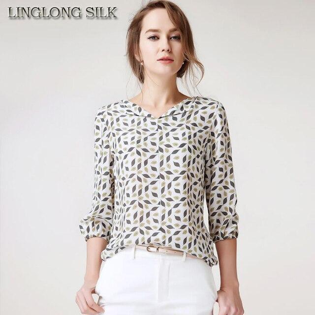 Blusa de Chiffon de seda 1786 100% tecido de seda pura 2016 nova moda feminina camisa de seda impresso padrão Floral fábrica fabricante