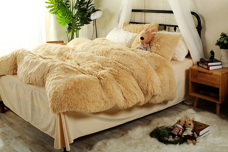 Ropa de cama de invierno de lana gruesa marrón gris naranja juegos de cama tamaño Queen/juego de sábanas juego de edredón funda de almohada suave ropa de cama de abrigo-in Juegos de ropa de cama from Hogar y Mascotas    2
