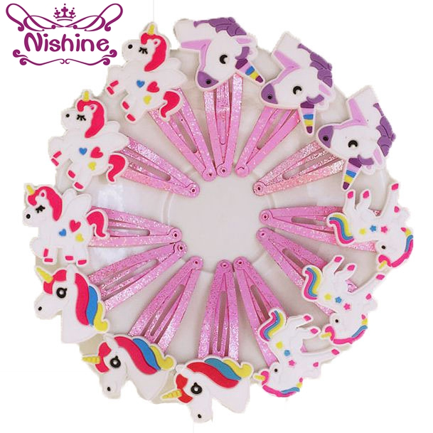 Nishine 10PCS 4 Colors Glitter Unicorn Hairclips Cartoon Animal Hair Clips Cute Plastic Hairpins Kids Headwear Hair Accessories