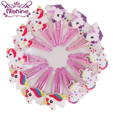 Nishine Glitter Unicorn Hairclips Cartoon Animal Hair Clips Cute Plastic Hairpins Kids Headwear Accessories