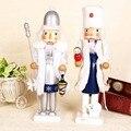 2 unids/lote 38 cm altura jumbo muñeco de nieve navidad cascanueces de madera juguetes de la muñeca regalo de la decoración