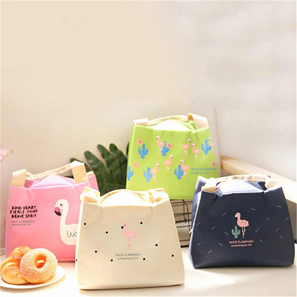 Flamingo Functional Pattern Cooler Lunch Box Portable Insulated Canvas Lunch Bag Thermal Food Picnic Lunch Bags For Women Kids