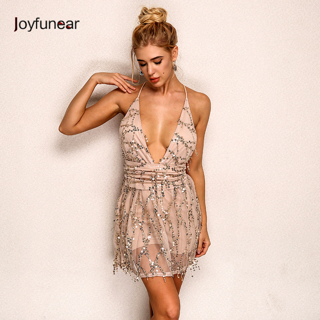 Deep V Neck Lace Sequin Jumpsuit Sexy Women strap Sleeveless Playsuit  Vintage backless Romper Overall Party 132c9ace6a5b