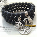A set of 3pcs Black Onyx Yoga bracelet Set of Pave Silver Om, Hamsa, Life Tree charms Bracelet 2015 New Design