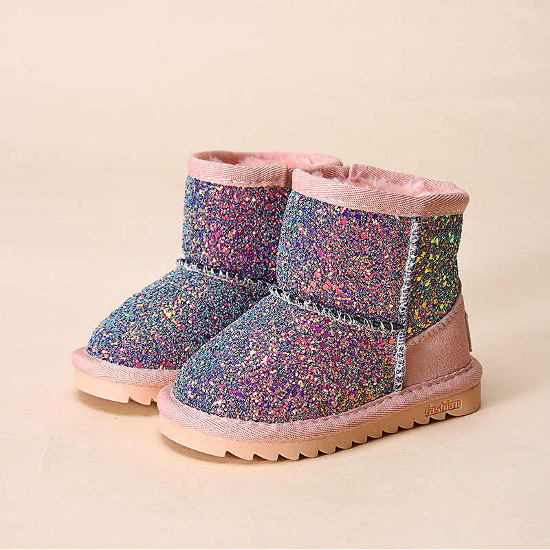 2017 Bling toddler girls snow boots winter shoes for girls rubber boots with fur baby girls boots size 21-30