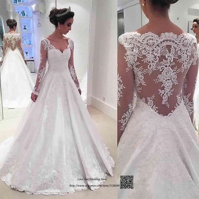 b089aab0c1 Vestidos de Noiva Real Princesa Long Sleeve Wedding Dress Lace Vintage  Wedding Gowns Satin See Through