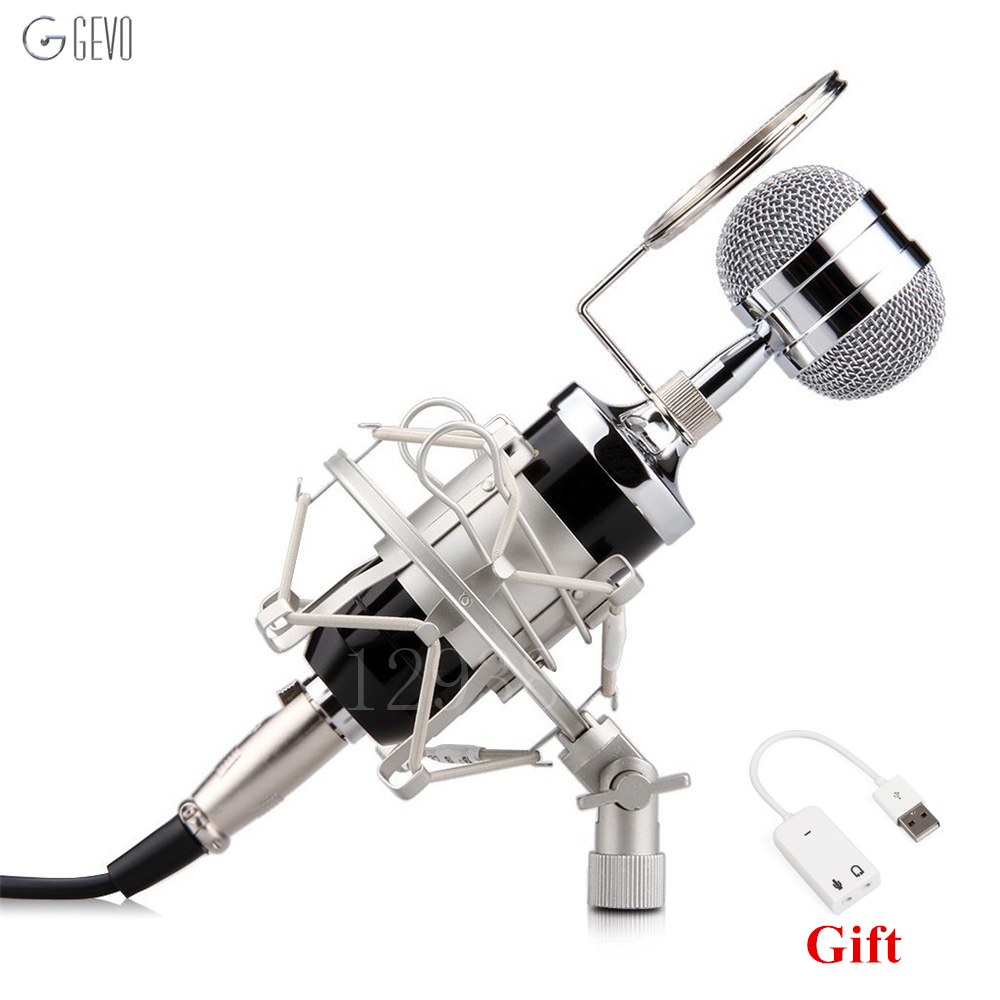 BM 8000 Professional Condenser Microphone 3 5mm Audio Cable Mic With Metal Shock Mount Blowout Preventer