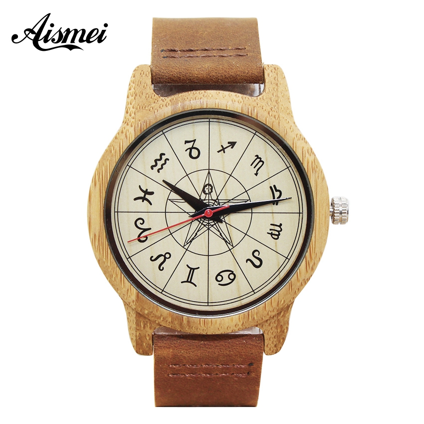 Aismei New Fashion Wood Watches Zodiac signs dial Genuine Leather Quartz Watch for Men Women Gift Montre Femme Relogio Feminino