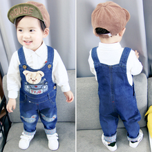 DIIMUU New Fashion Baby Boys Girls Clothes Toddler Children Overalls Denim Cotton Casual Suspender Pants Cartoon Bear Trousers
