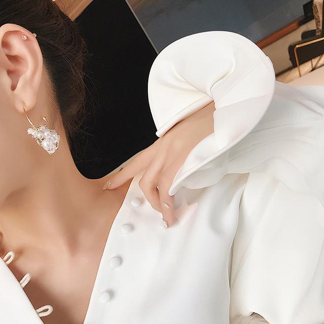 Simulated-pearl Classic Women Dangle Earrings
