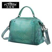 New Genuine Leather Shoulder Bag Top Handle Women Bag Retro Women Handmade Handbag 2018 Original Design Messenger Bag for Women