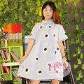 2017 New Harajuku Dress Women College Retro Loose Cotton Unique Customized Cute Dress/summer dress Sky Blue with Sushi Prints