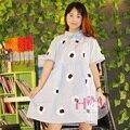 2017 nova harajuku dress mulheres faculdade retro soltas de algodão único personalizado bonito dress/verão dress blue sky com sushi impressões