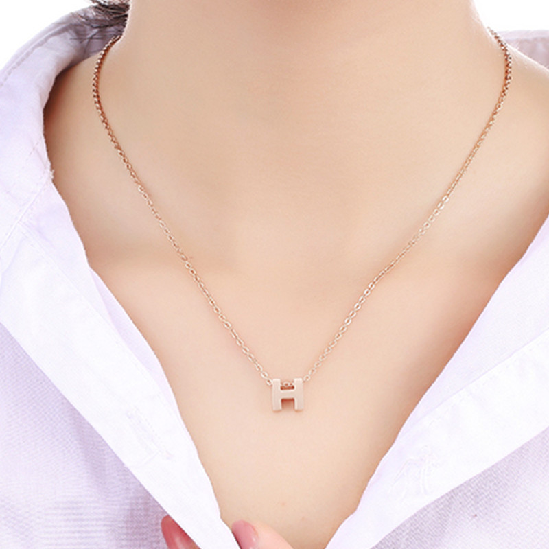 1pc 316l Stainless steel Small H word Pendants & Necklaces fine bijoux, 2016 new Charms Choker Collares Statement Necklace lady ...