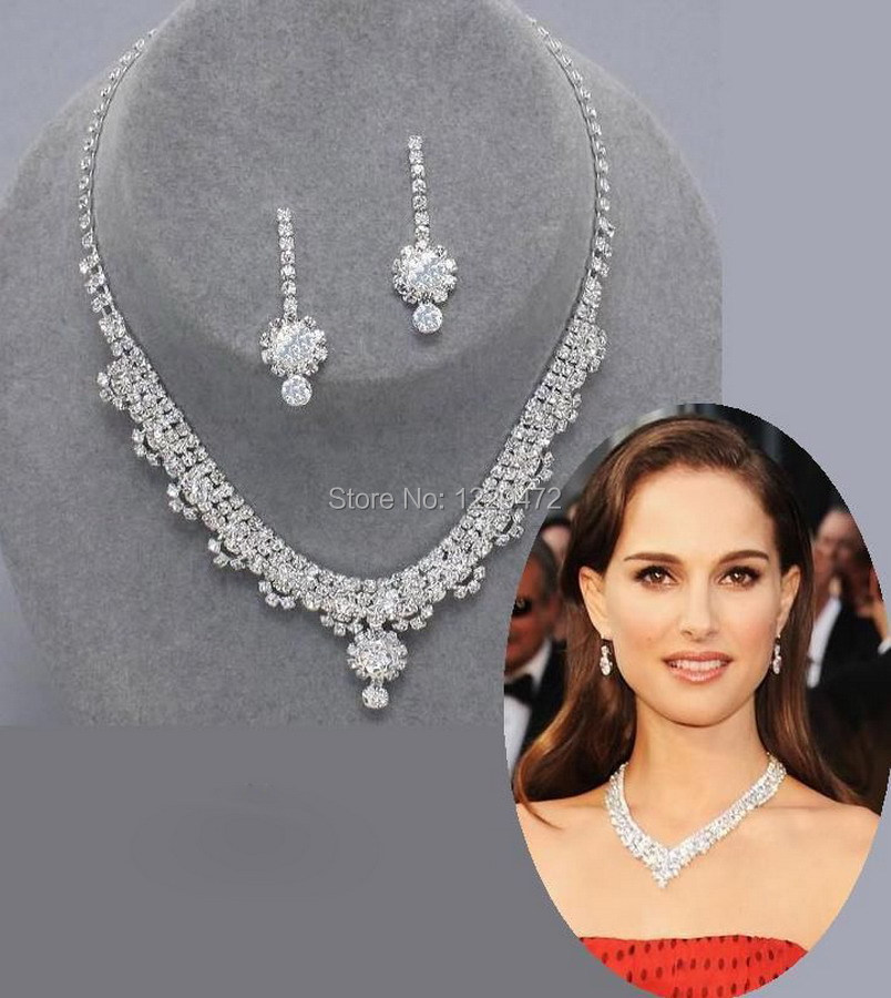 TREAZY Celebrity Inspired Crystal Rhinestone Choker Necklace Earrings Set  Silver Color Wedding Bridal Bridesmaid Jewelry Sets-in Bridal Jewelry Sets  from ... 1b099e03b46f