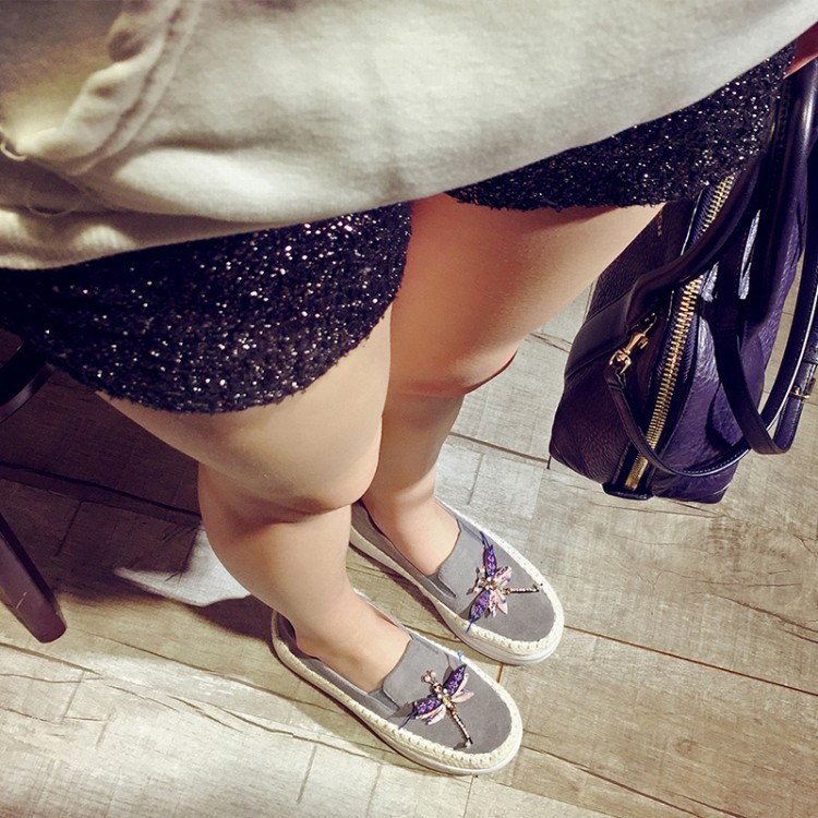 Big Size Women Platform Loafers Crystal Genuine Leather High Quality Pointed Toe Flats Shoes For Women Slipony Women Rhinestone  (39)