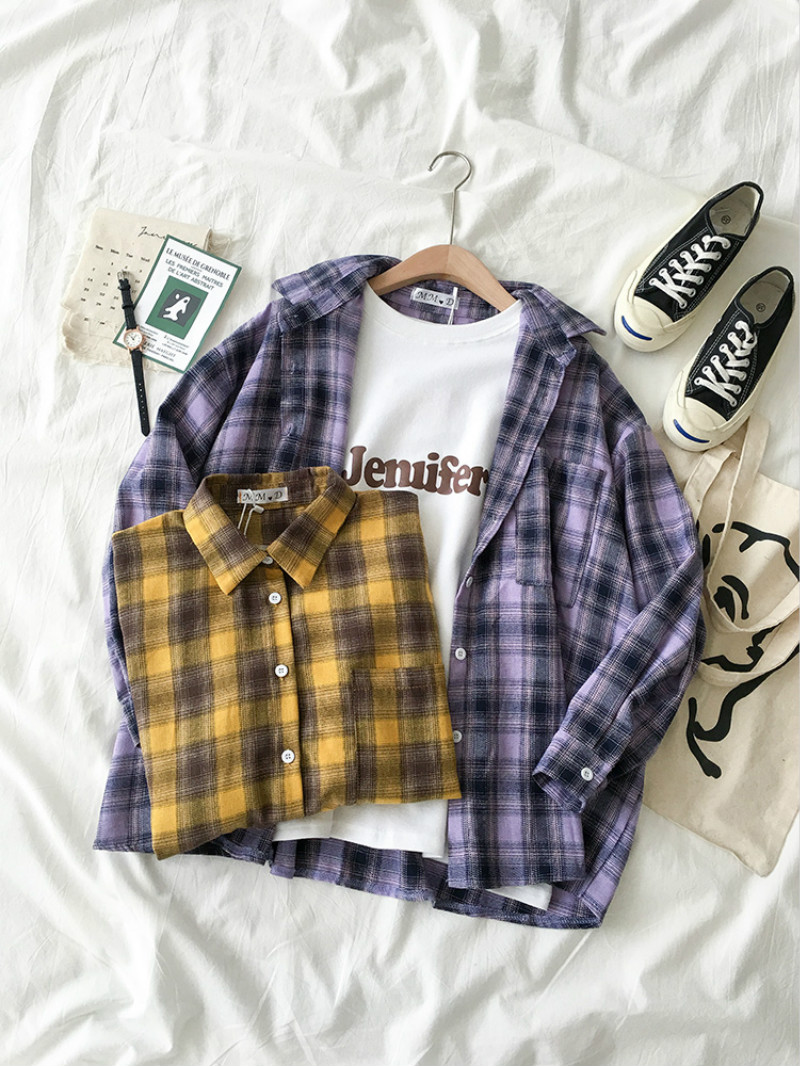 Women's Art Style Loose Blouse Shirts Spring Autumn Korean Long Sleeve Plaid Retro Blouses Female All Match Bottom Blusa Tops