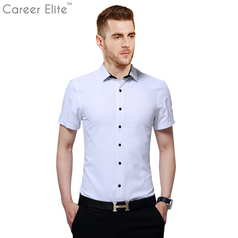 New 100% Cotton Blue White Casual Shirts Mens Dress Shirt Men Fashion Summer Top High Qu ...