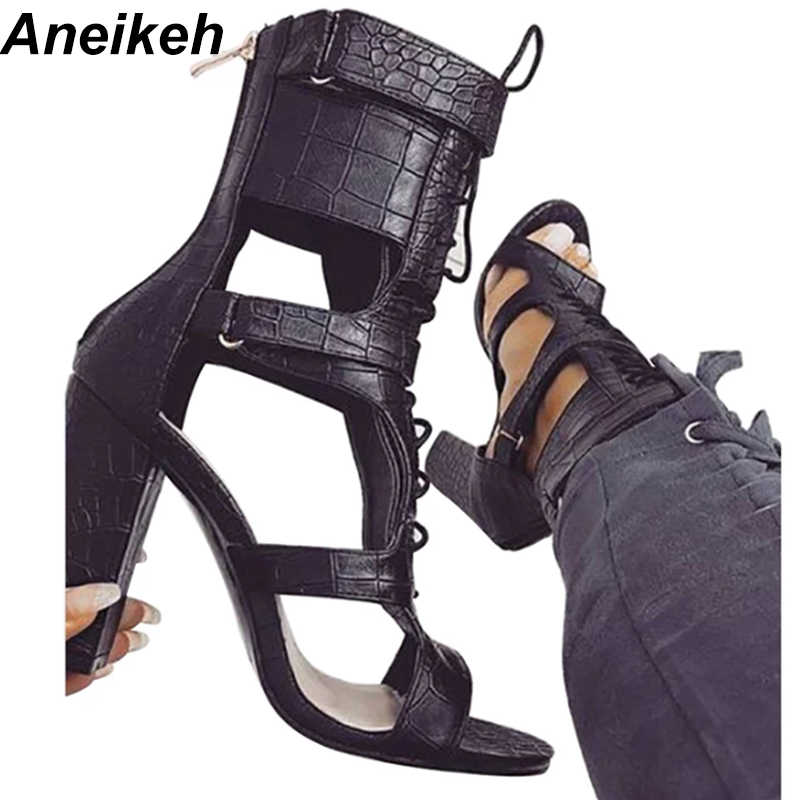Aneikeh 2018 Sexy PU Sandals Women Open Toe Sexy Lace Up Sandals High Heels  Summer Ladies 4a361c825d8d