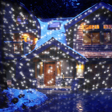 цена на Mini Snowfall Projector IP65 Moving Snow Outdoor Garden Laser Projector Lamp Christmas Snowflake Laser Light For New Year Party