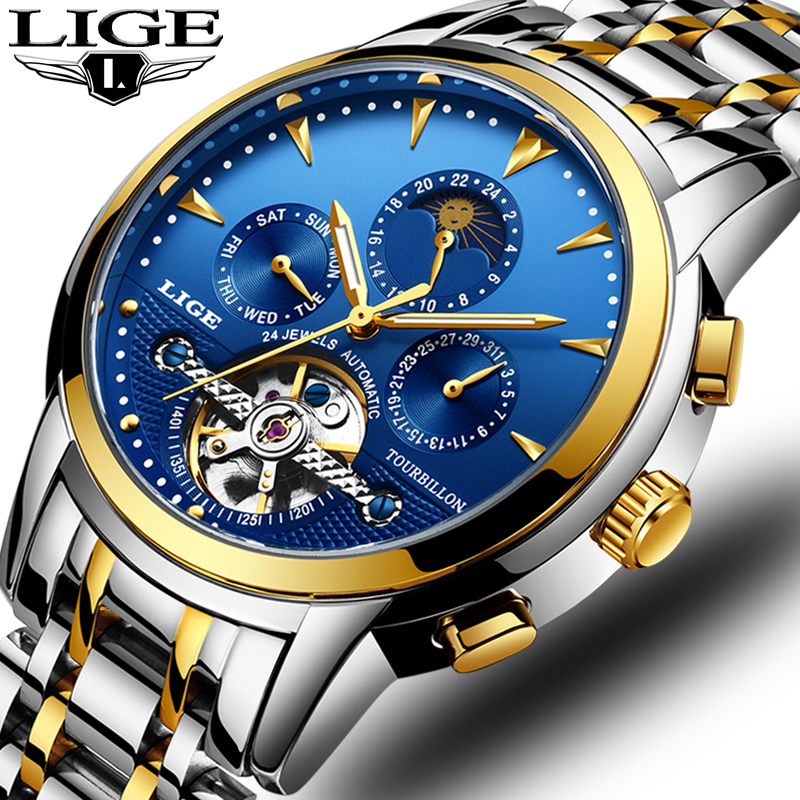 LIGE Men Watches Automatic Mechanical Watch Male Tourbillon Clock Fashion Skeleton Watch Top Brand Wristwatch Relogio Masculino ik coloring bridge analog display mechanical male clock automatic wristwatch golden bezel skeleton watches relogio masculino