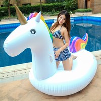 275cm Giant Unicorn Pool Float Rainbow Pegasus Ride On Inflatable Swimming Ring Adult Children Air Mattress Party Water Toy