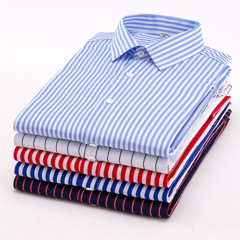 Aoliwen 2019 Brand Men Summer Short Sleeve Stripe Shirt High Street Style Fashion Flannel Printed Shirt Slim Fit High Quality