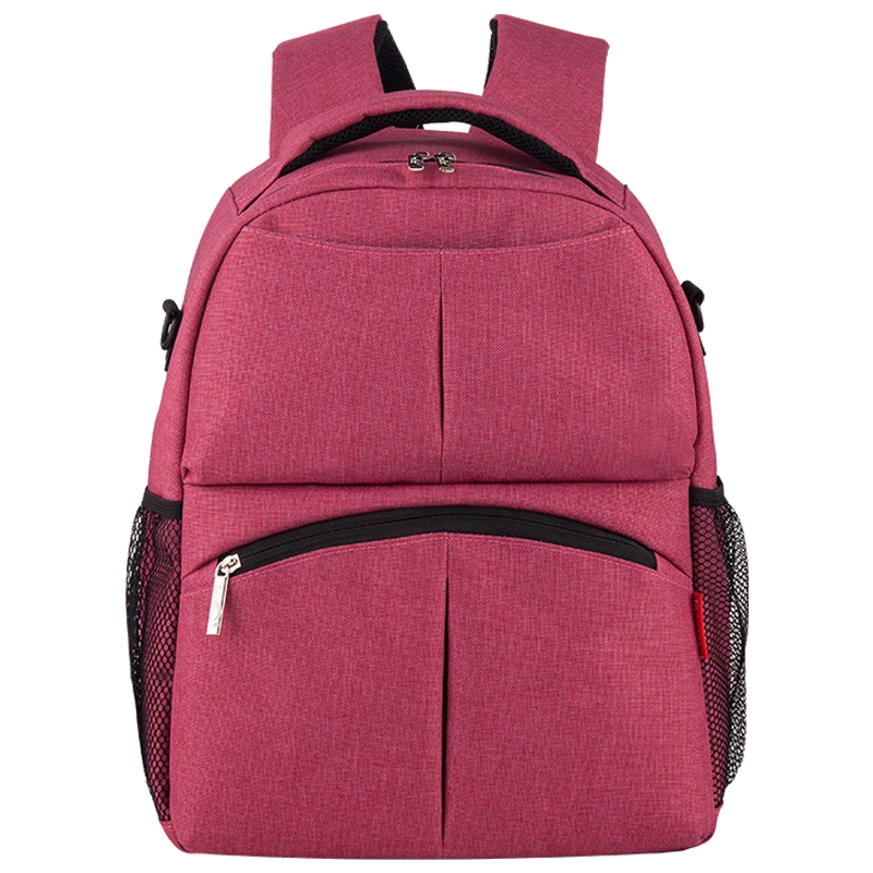 insular Fashion large capacity mommy baby diaper backpack Rose Red