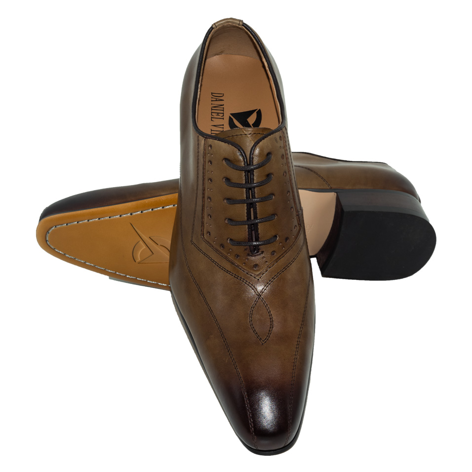 Men Dress Wedding Shoes Classic Khaki Coffee Color Luxury Brand Office Formal Pointed Toe Solid Oxford Genuine Leather Mens Shoe