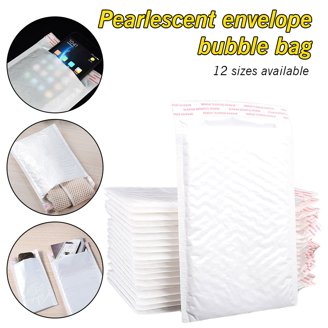 10pcs 12 Size White Bubble Mail Envelope Bag Bubble Postage Packing Envelope Packing Transportation Bags