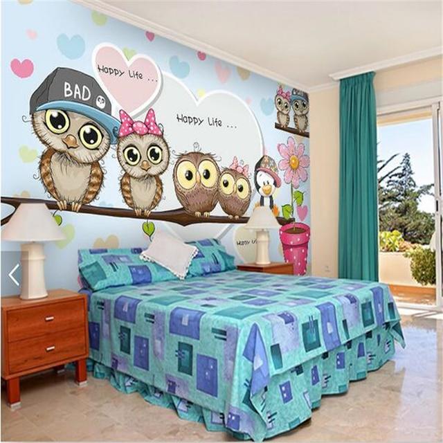 Beihang custom wallpaper 3d cute cartoon owl kids room backdrop beihang custom wallpaper 3d cute cartoon owl kids room backdrop wall living room room fashion according voltagebd Images