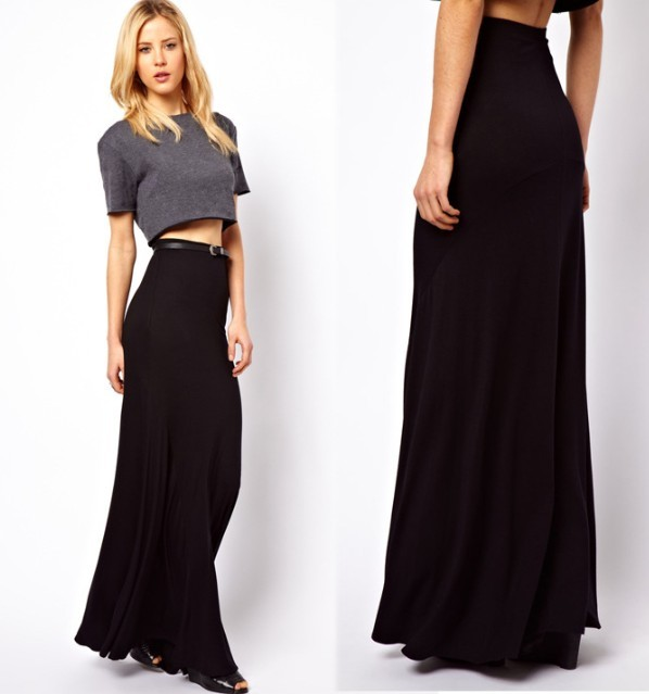 a48fbc60041 Girls Black Fold Over Waist Banded Minimalist Jersey Knit Long Maxi Skirt M  L XL