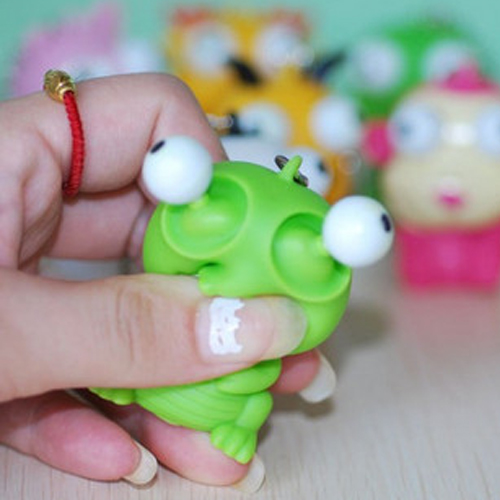 Funny Cartoon Animal Vent Squeezing Eyes Decompression Toy Doll Key Pendant Gags Practical Jokes Toys