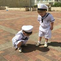 2018 girls dress kids clothing set navy dress for girls baby girl clothes set girls cotton suit 2 pcs boy sailor cloth suit