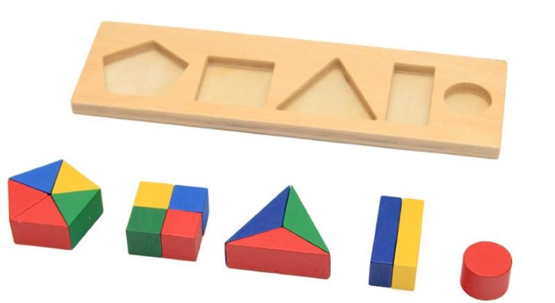 Noua jucărie de jucărie din lemn Montessori Forme geometrice - Jocuri și puzzle-uri