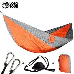 Portátil de pouco peso náilon parachute dupla rede multifuncional 2 pessoas hamak acampamento mochila viagem praia quintal jardim