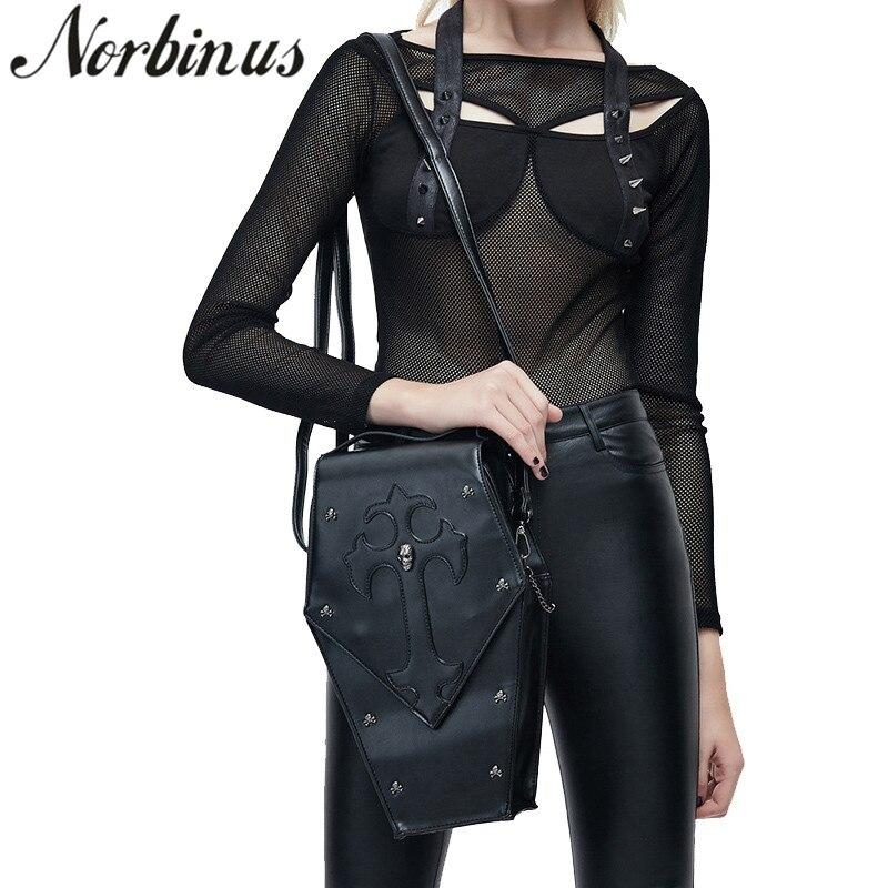 Norbinus Retro Leather Women Handbags 2018 Gothic Shoulder Messenger Crossbody Bag Female Skull Rivet Designer Bags
