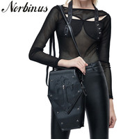 Norbinus Retro Leather Women Handbags 2018 Gothic Shoulder Messenger Crossbody Bag Female Skull Rivet Designer Bags for Ladies
