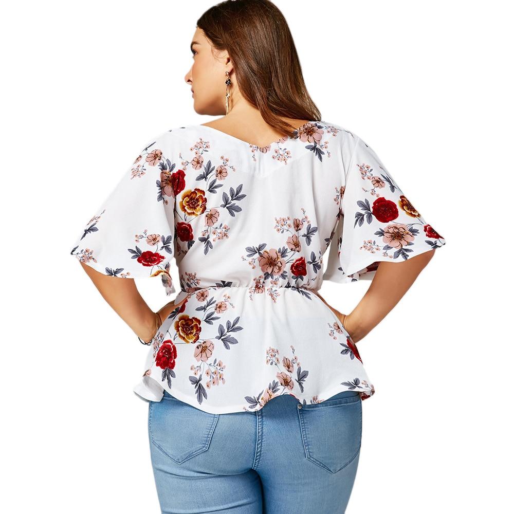 caec025d602 Shirt Length  Regular Sleeve Length  Half Collar  V-Neck Style  Fashion  Season  Summer Sleeve Type  Flare Sleeve Pattern Type  Floral