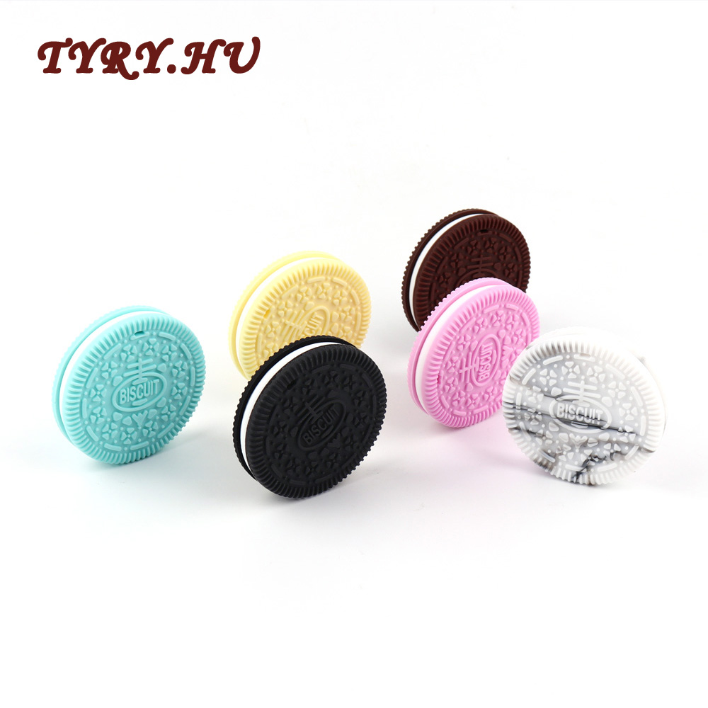 TYRY.HU 1PC Biscuits Teether Materials Food Grade Silicone Beads BPA Free for Baby Teething Pendant Nursing Baby Chew Gifts Toys best bpa free food grade diy silicone baby chew beads teething necklace nursing jewelry chewable teether for mom mun to wear
